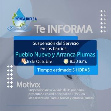 SUSPENCION DEL SERVICIO EN LOS BARRIOS PUEBLO NUEVO Y ARRANCAPLUMAS.
