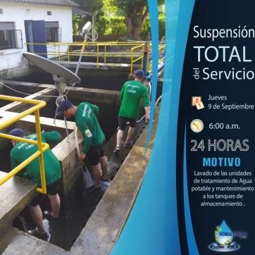 SUSPENSION TOTAL DEL SERVICIO EL DIA JUEVES  9 DE SEPTIEMBRE 2021.